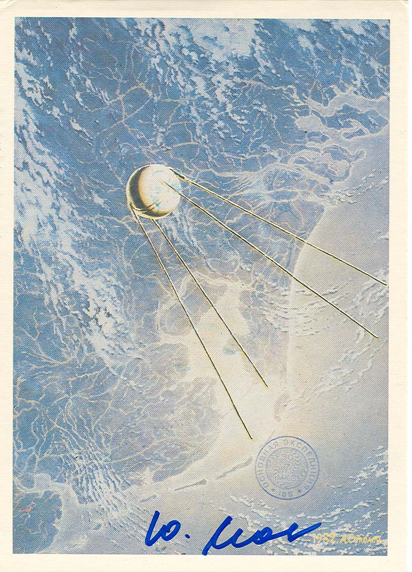 # ma635 A.Sokolov artwork card Sputnik Over The Plane