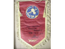 # pnt131 Soyuz TM pennant signed and notared by Soyuz TM-9/MIR cosmonaut Balandin