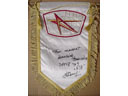 # pnt139 MIR space station pennants autographed/notared by cosmonaut Balandin