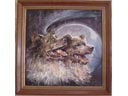 # spnt113 Belka-Strelka Cosmos dogs oil painting of Inna Bordayeva